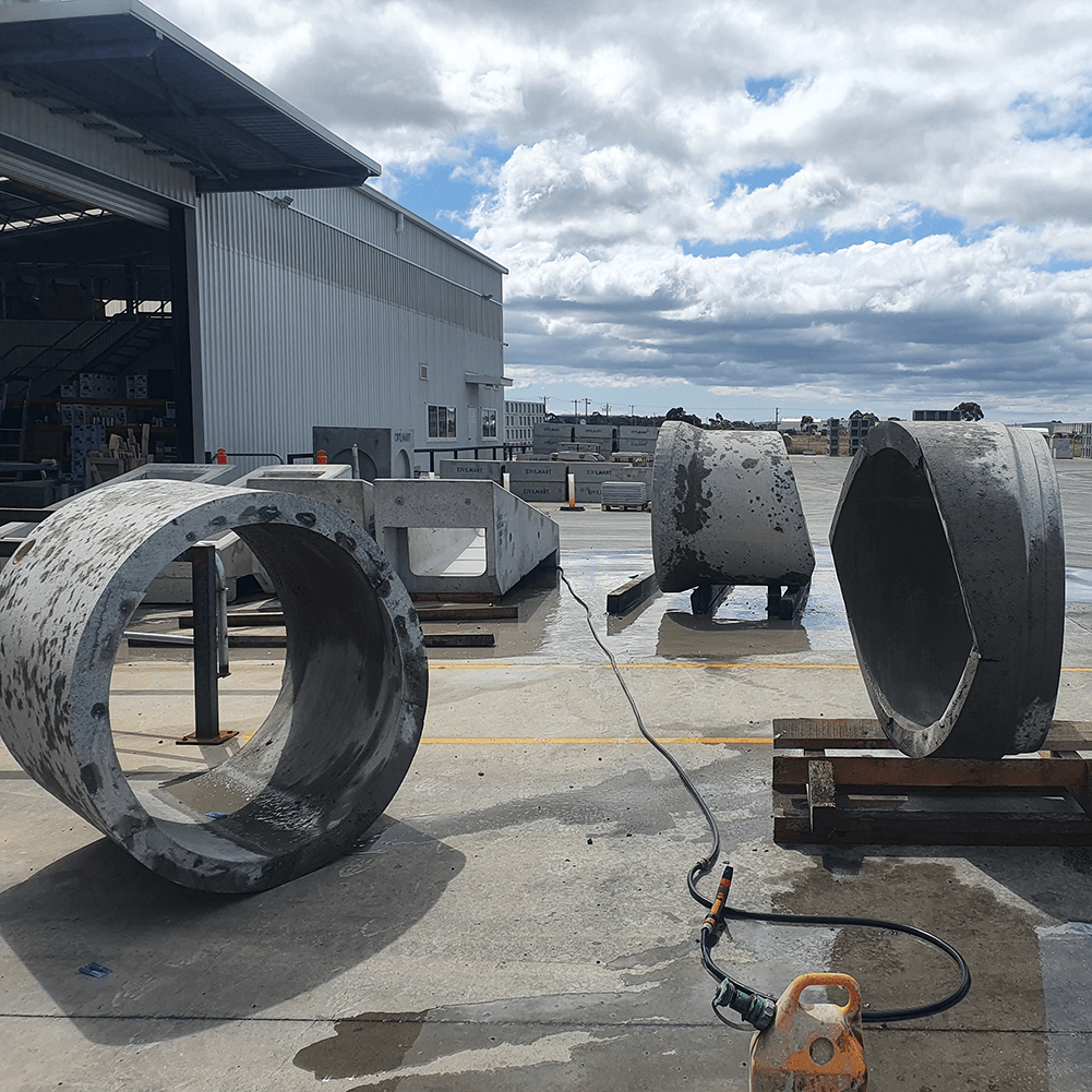 Cut concrete pipes